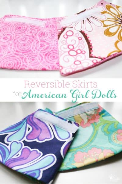 Such cute sewing. American Girl Doll Clothes pattern to make DIY reversible skirts for the dolls. Love how easy these are!