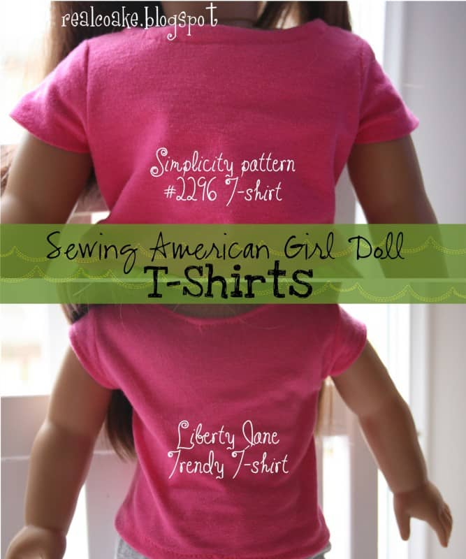 American Girl Doll Patterns to make two different style t-shirts. #Sewing #AmericanGirlDoll #RealCoake