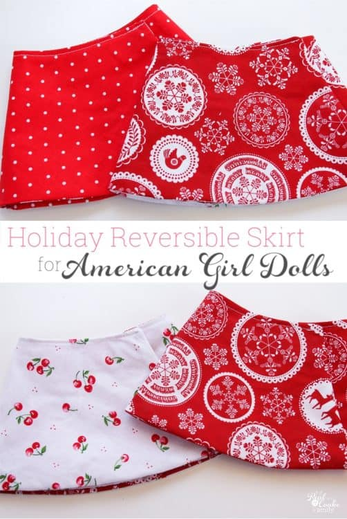 "Free Doll Clothes sewing pattern to make an adorable reversible wrap skirt for you American Girl or 18"" doll. Super easy, too!"