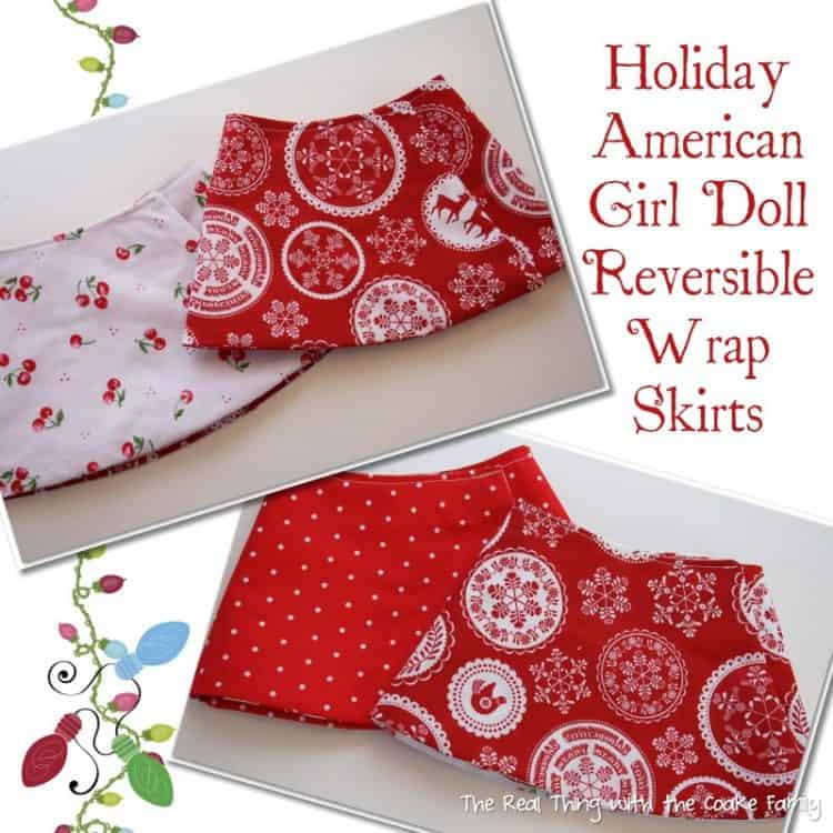 Free Doll Clothes Pattern ~ Holiday Reversible Wrap Skirt