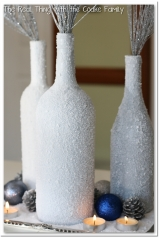 Winter Centerpiece from wine bottles and epsom salt #centerpiece @realcoake