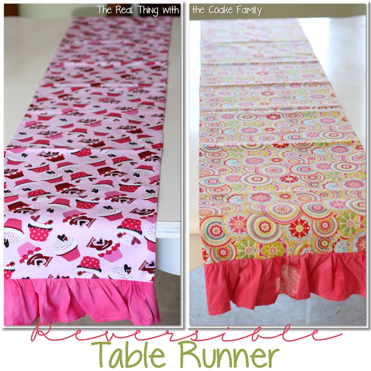 Table runner pattern the real thing with the coake family for Diy valentine table runner