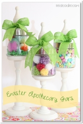 Easter decorating idea using Apothecary jars filled for Easter #Easter #Decorating