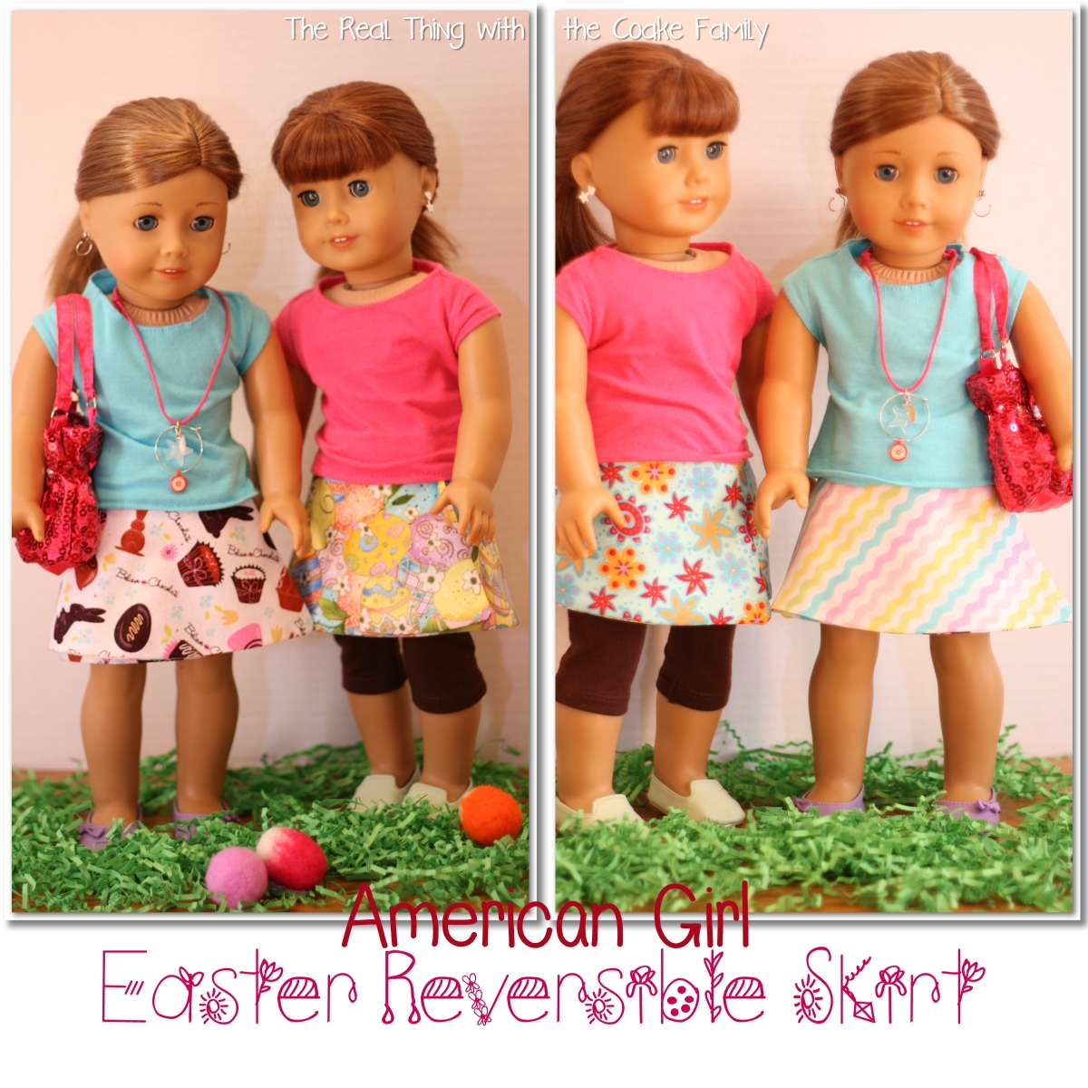 Free Doll Clothes Pattern Easter Reversible Skirt 187 The