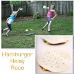 Activities for the Family {Memorial Day Hamburger Relay Race}