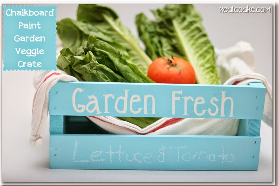 Chalkboard Paint Ideas ~ turning a crate into a place to store and label fresh veggies. #ChalkboardPaint #Crafts #GiftIdeas #RealCoake
