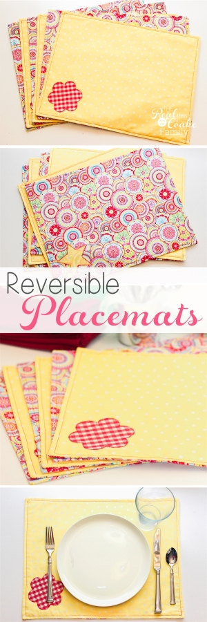 So cute! I can easily modify this for any holiday, season or occasion. This is a simple, free sewing pattern and tutorial on how to make placemats (reversible placemats).