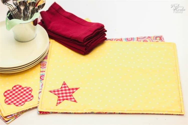 placemats sewn with pattern on table