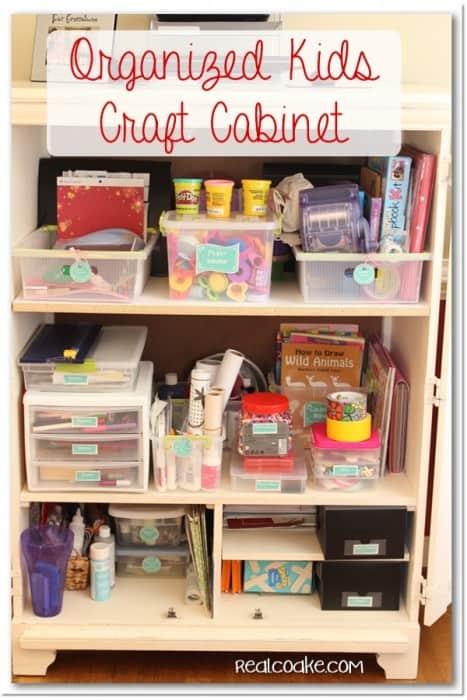 Great Craft Organization of kids craft supplies using printable labels. #Crafts #Kids #Organizing #RealCoake
