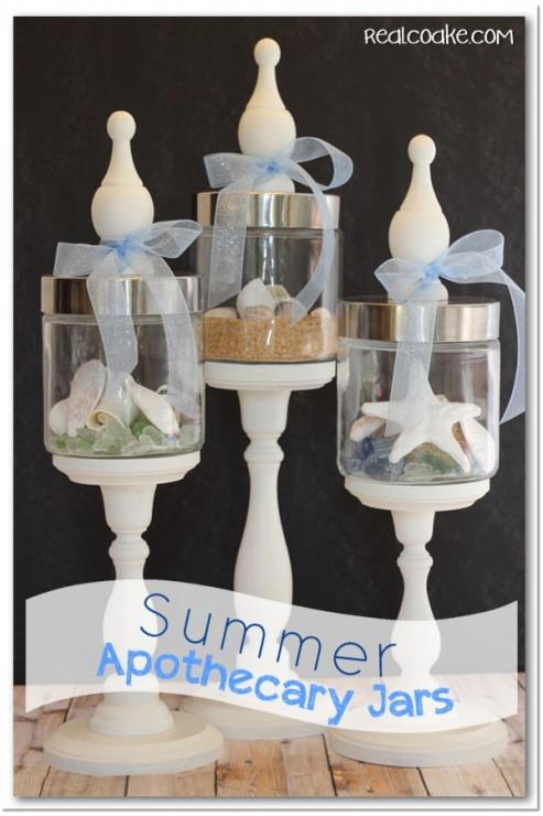 Perfect summer decorating idea using cute Apothecary Jars #summer #decorating #ApothecaryJars