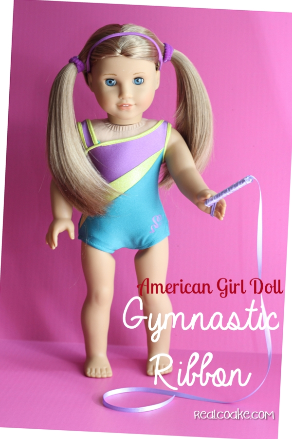 American Girl Crafts ~ Make an adorable gymnastic ribbon for your AG Doll. #AmericanGirlDoll #AGDoll #Crafts #RealCoake