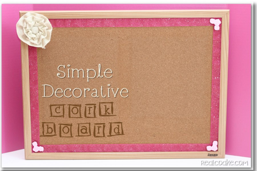 Idea for taking a Cork Board from plain to cute with tutorial #BulletinBoard #DIY #Craft #RealCoake