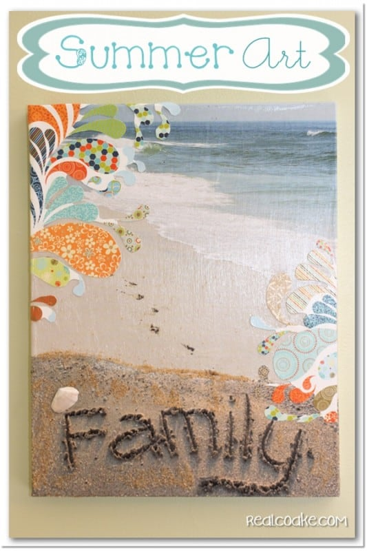 Tutorial to make Summer Art a DIY Wall Art with Canvas. #DIY #WallArt #HomeDecor #RealCoake