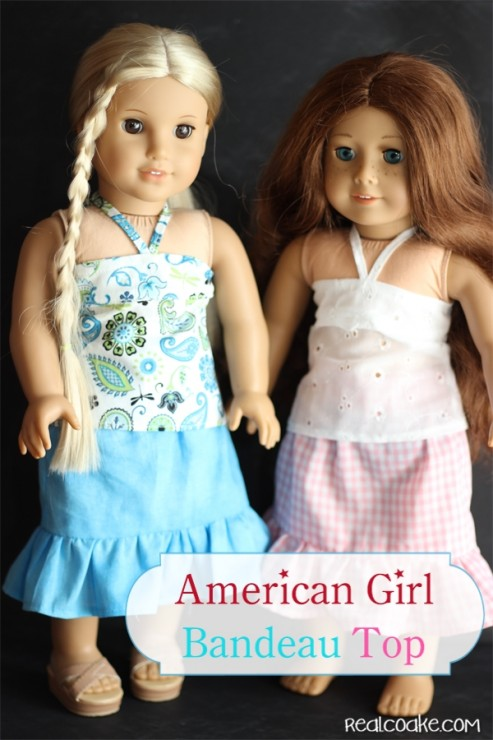 #AmericanGirlDoll clothes pattern to make a Bandeau Top from www.realcoake.com