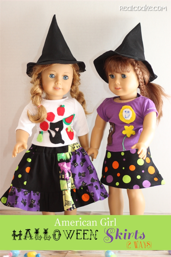 Free American Girl Doll clothes pattern to make two different doll skirts. #AGDoll #AmericanGirlDoll #sewing #Pattern #RealCoake