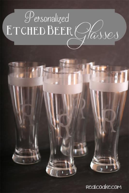 #HomemadeGifts~ make personalized beer glasses at a fraction of the cost of buying them. Perfect for your favorite beer lover. #Crafts #realcoake