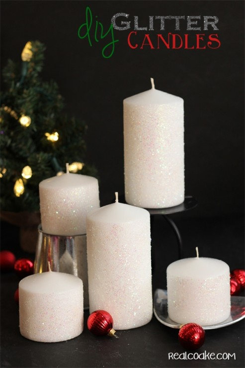 Tutorial on home to make a glitter candle. Easy #DIYHomeDecor from #RealCoake