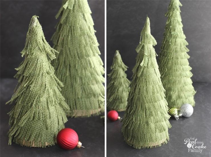 Darling Christmas crafts to make burlap Christmas trees. Perfect Christmas decorations. #Burlap #Christmas #Craft #Trees #RealCoake