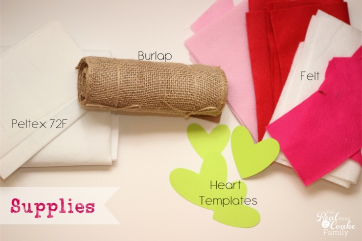 Cute and simple to make felt and burlap table runner for Valentine's Day. #TableRunner #Sewing #Burlap