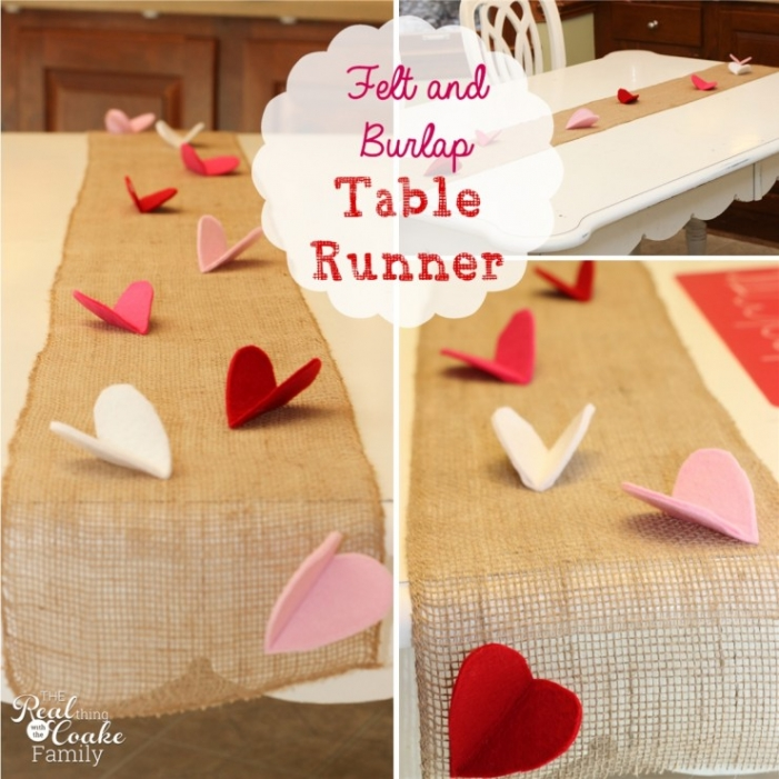 Valentine felt and burlap table runner the real thing for Diy valentine table runner