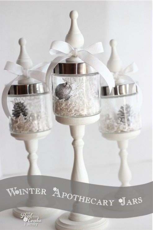 Beautiful apothecary jars with ideas for using them in winter home decor. #Winter #ApothecaryJars #HomeDecor