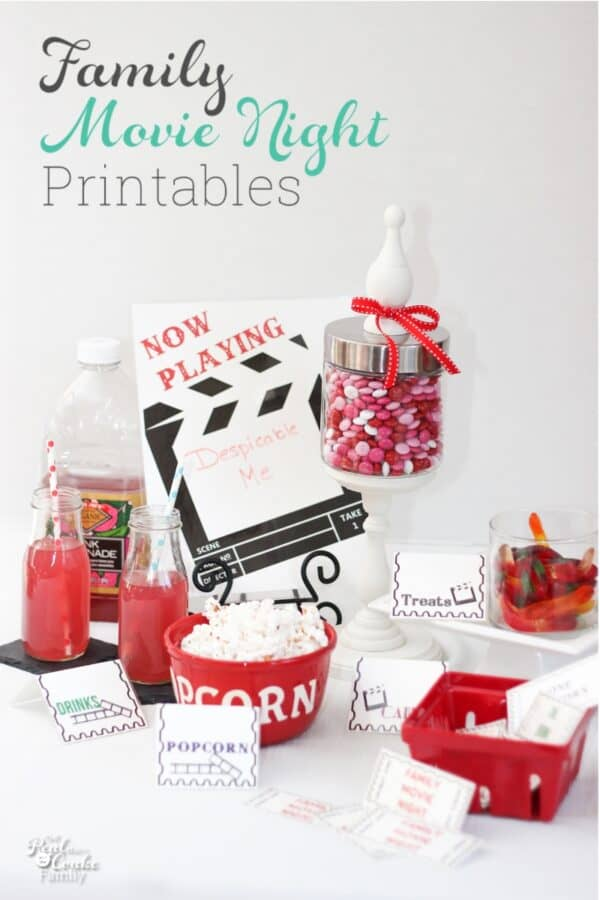 movie night printables on table with snacks and treats for family fun movie night
