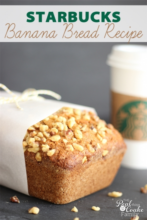 Delicious banana bread recipe! This is THE Starbucks banana bread recipe(not a knock-off) you can make at home...yum! #BananaBread #Recipe #Starbucks #RealCoake
