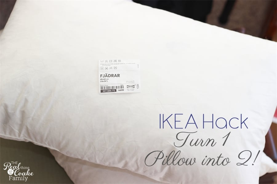 IKEA Hack to make two decorative pillows out of one pillow form. Easy way to get more decorative pillows for cheap. #IKEAHack #Pillows #HomeDecor #RealCoake