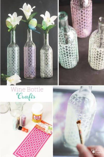 Collage image of the wine bottle craft to make DIY glitter vases out of wine bottles.