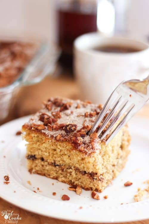 Such a delicious sour cream coffee cake recipe! It is super easy and it the perfect sweet weekend breakfast idea. It works well to make ahead for special events as well. Yum!