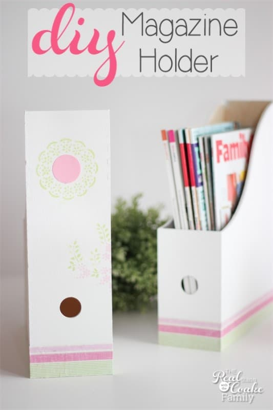 Make this adorable DIY magazine holder to help organize your magazines or catalogs in a cute way! #DIY #Crafts #ModPodge #Organize #RealCoake