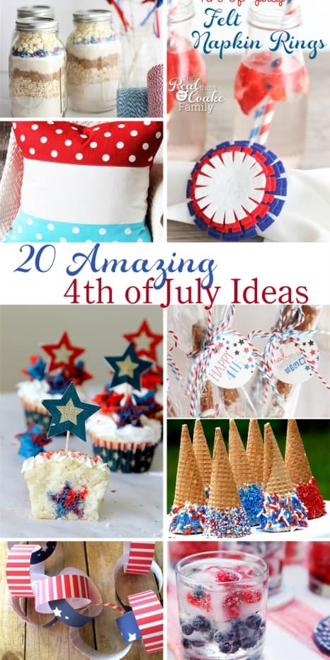 20 Amazing 4th of July Ideas! Great ideas of food, crafts, and fun for the 4th. #4thofJuly #Crafts #Printable #recipe #RealCoake
