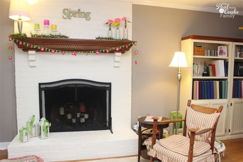 A pretty living room reveal. Room projects included painting the fireplace, removing chair rail and updating the whole room! #LivingRoom #Makeover #HomeDecor #RealCoake