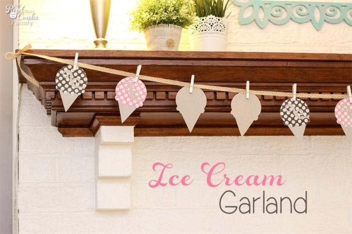 Cute DIY home decor idea to make an summer ice cream shaped garland for the mantel. #DIY #HomeDecor #Crafts #RealCoake
