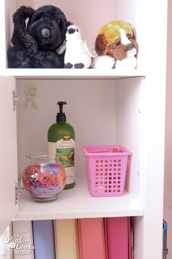 Lotion and stuffed animals on shelf of an IKEA Expedit