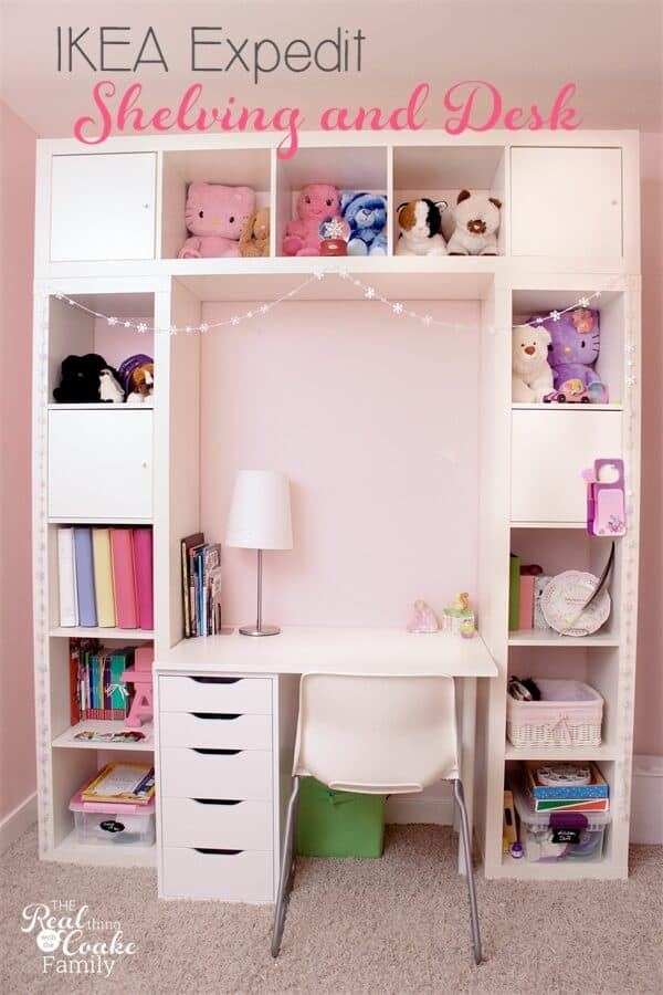 Ikea built in hack with built in desk in a Childs room