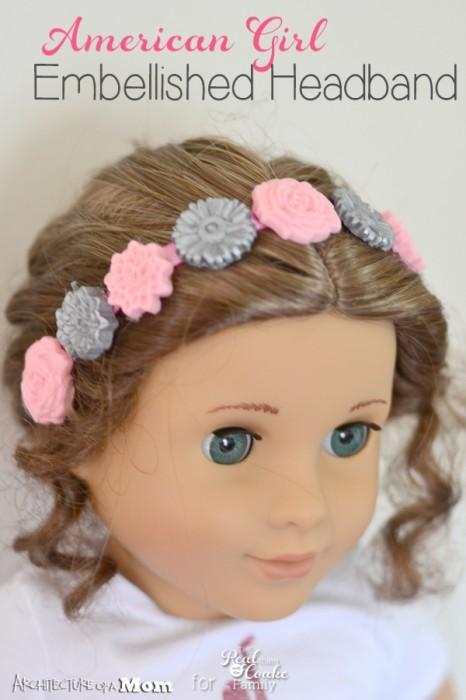 Cute idea and simple to make! American Girl Crafts to make an embellished headband. #AmericanGirl #Crafts #Headband #ModMelts #RealCoake