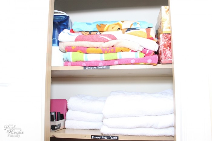 Linen Closet Organization - Great post showing how to maximize a small space for a family. #diy #Organization #organize #organizing #closet #realcoake