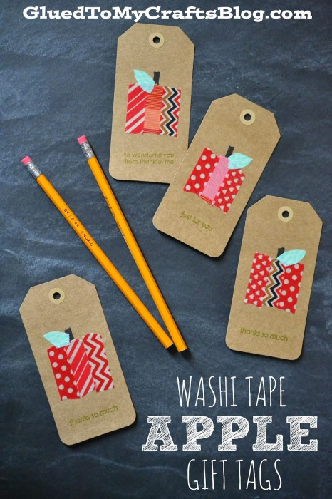 apple washi tape gift tags