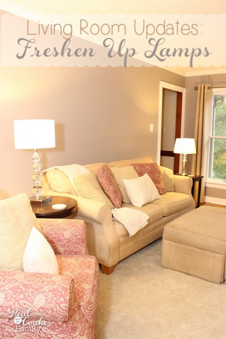 Living Room Ideas to update your living room by updating lamps and lamp shades. #homedecor #livingroom #interiordesign #realcoake