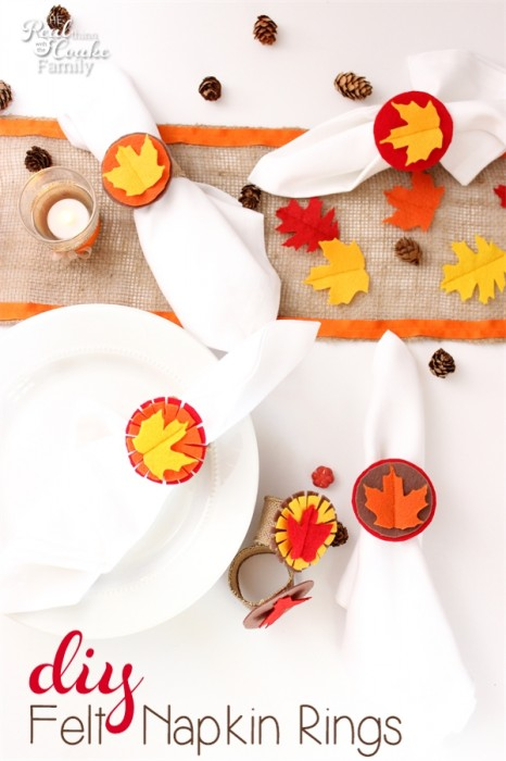Love simple and easy Thanksgiving crafts like this one! Just a little felt and wired burlap and presto...diy felt napkin rings perfect for the Thanksgiving table.