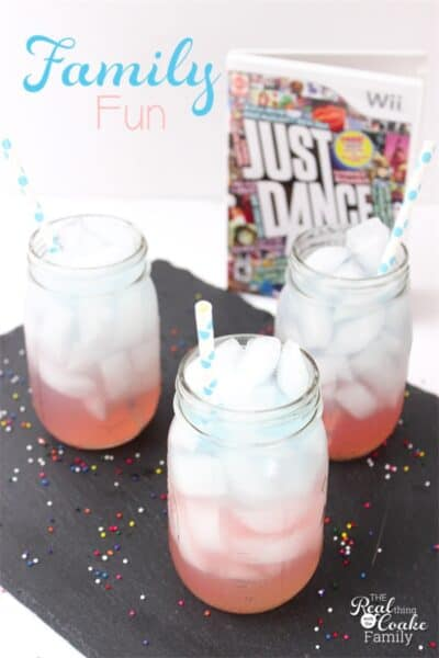 We LOVE finding fun things to do together as a family! This is a perfect idea...a fun active game followed by a delicious and fun layered drink for the whole family! Ad