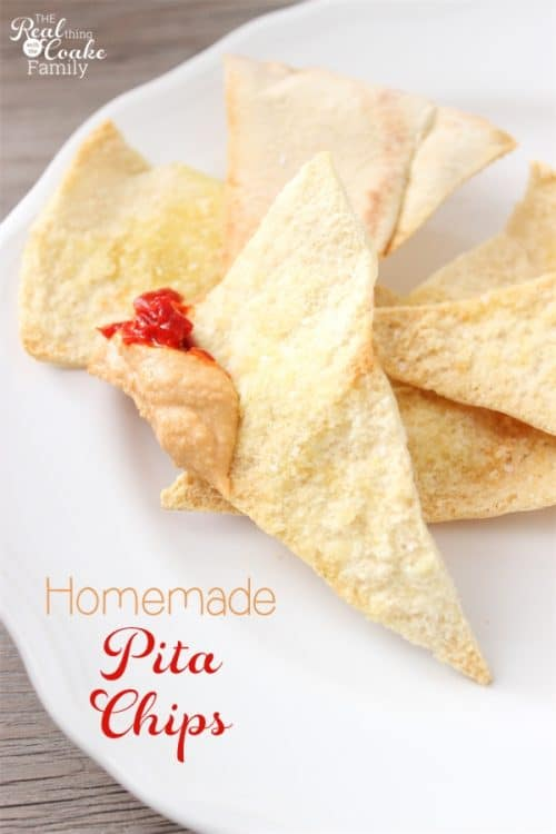 These are the best Homemade Pita Chips! They are a LOT less expensive than buying pita chips, super easy to make, and really tasty. Perfection!