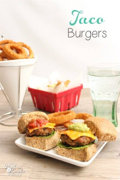 These tasty taco burgers (or sliders) are so yummy! The kids and the whole family enjoy them. Great easy dinner for Cinco de Mayo or any night.