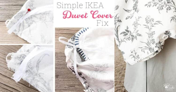 Collage showing the IKEA duvet covers and inserts and process of fixing them