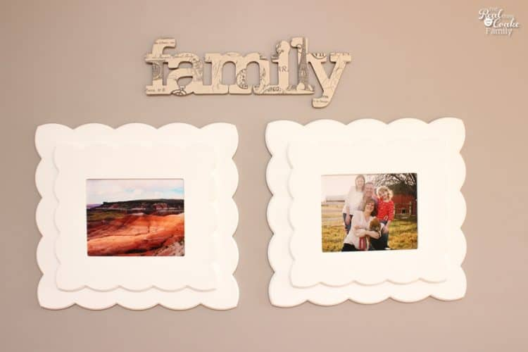 This is such cute diy family wall art! Looks easy too. So pretty and could be done in a variety of words or fabrics to match my home decor.