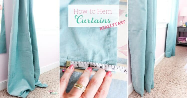 how to hem curtains collage