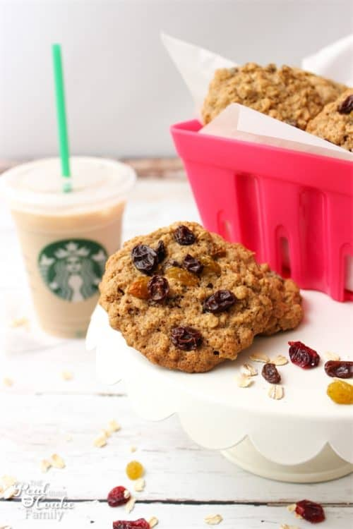 Yum! Starbucks Oatmeal Cookie Recipe! These are so delicious. This recipe includes a freezer adaptation so I can have fresh hot cookies any night of the week.