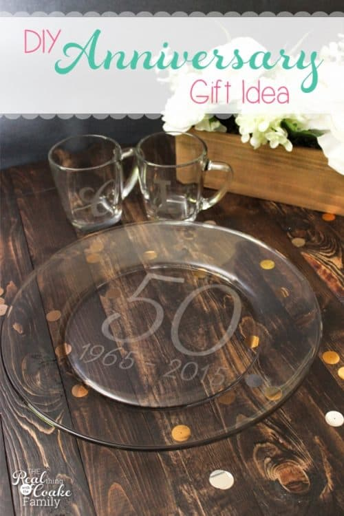 I think personalized gifts are the best. This diy plate and cups can easily be personalized as anniversary gifts. Great gift ideas!