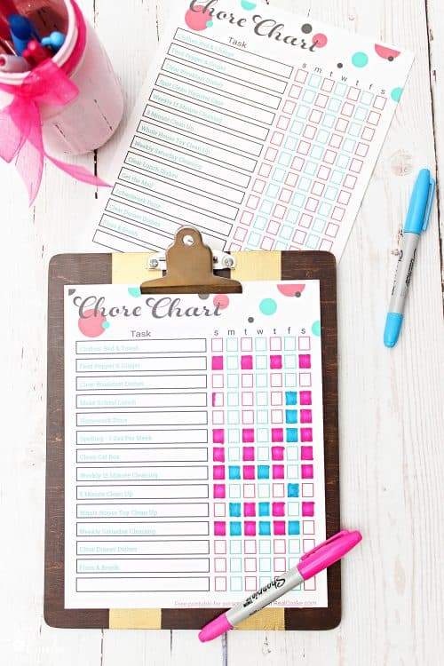 Such cute free printable chore charts or responsibility charts for the kids. Has ideas on how to use them and for chores.